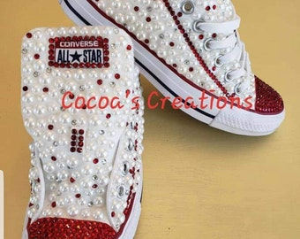 a4f167499497 Custom diamond and pearl converse