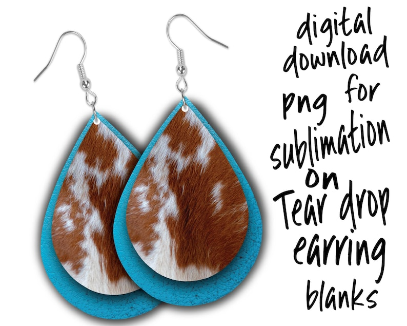 western cowhide sublimation png download for tear drop earrings