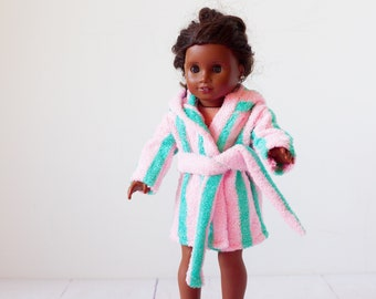 Doll bathrobe, 18 inch doll clothes, pale pink & teal terry cloth bathrobe with hood, fits american girl doll
