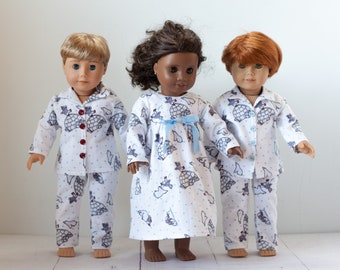 Winter 18 inch doll night gown fits American girl dolls, boy doll pjs in igloos & polar bears, red and white Christmas pajamas