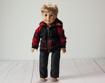 18 inch doll boy, doll hoodie / sweater red & black checkered top with hood for 18 inch dolls. Doll hoodie and black jeans.