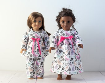 18 inch doll night gown fits amercian girl dolls, doll pajamas in floral & birds pink, purple with white, doll pjs or nightgown