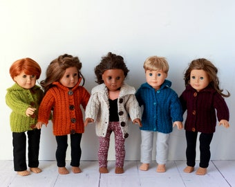 Hand knit doll sweater 18 inch doll clothes, blue, burgandy or green with buttons 18 inch doll, layering piece as cardigan