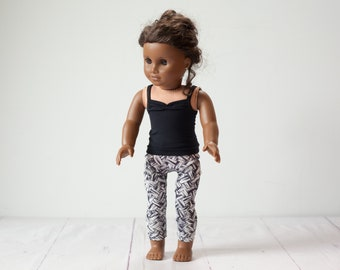 18 inch doll leggings & tank top, doll outfit.  Black tank top + patterned leggings for 18 inch dolls. Black and white modern design.