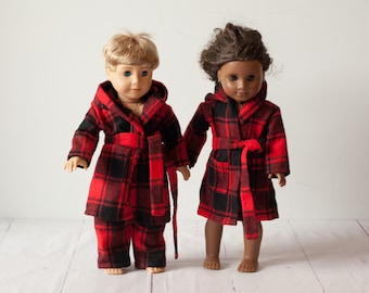 Doll bathrobe, 18 inch doll clothes, checkered fleece bathrobe with hood, red & black robe fits american girl doll fun bright colors