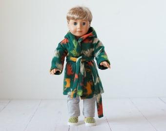 18 inch boy doll bathrobe green animal print soft bathrobe with hood, fits american girl doll