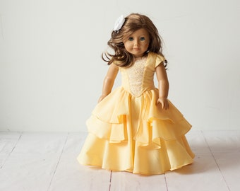 """Yellow bella princess gown for 18"""" special occasions, yellow with a lace bodice. 3 pc includes skirt, top & crinoline"""