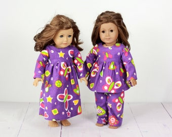 18 inch doll night gown fits amercian girl dolls, doll pajamas bold purple, yellow, lime green butterfly, doll pjs or nightgown