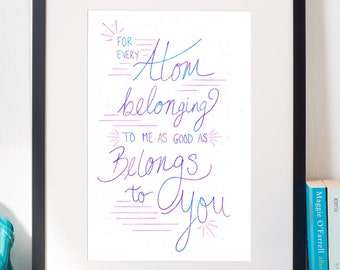 Printable: Walt Whitman Quote; For Every Atom Belonging