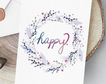 Printable: Happy Floral Wreath