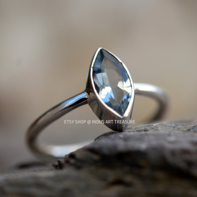 Gifts for Women Gift for Her Festival Ring Blue Gemstone Ring 925 Sterling Silver Ring Blue Topaz Marquise Ring for Love Stacking Ring