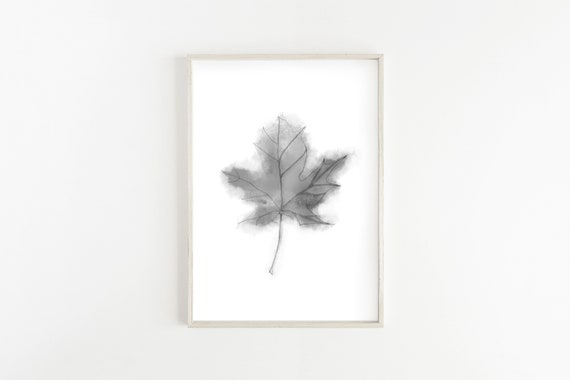 Black and White Nature Photo Simple Minimalist Art Maple Leaf Fall Decor Farmhouse Style Print Digital Download Image Printable Photo Art