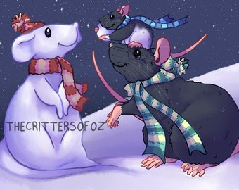 Rat Christmas Card, Mum and Baby Rat Playing in Snow (With Choice of Sticker!)