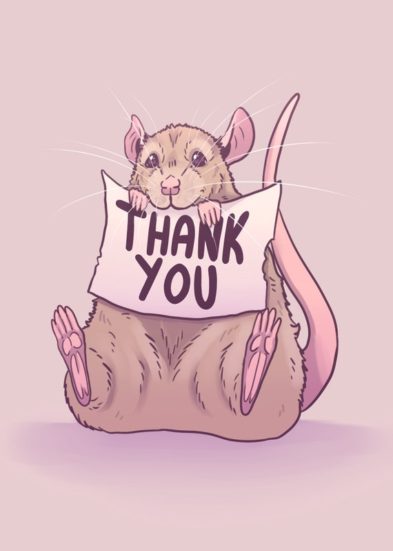 Rat Thank You Card Rat Themed Greeting Card for Rat Lovers | Etsy