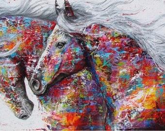 0079b54468 Multi Colour double horse 60cmx30cm Diamond Painting Kit