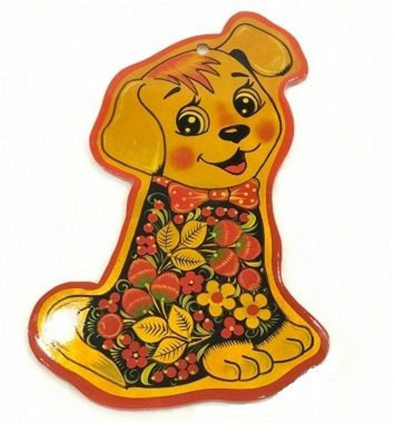 Cutting Board Dog Shape Khokhloma Painting Hand Painted Etsy