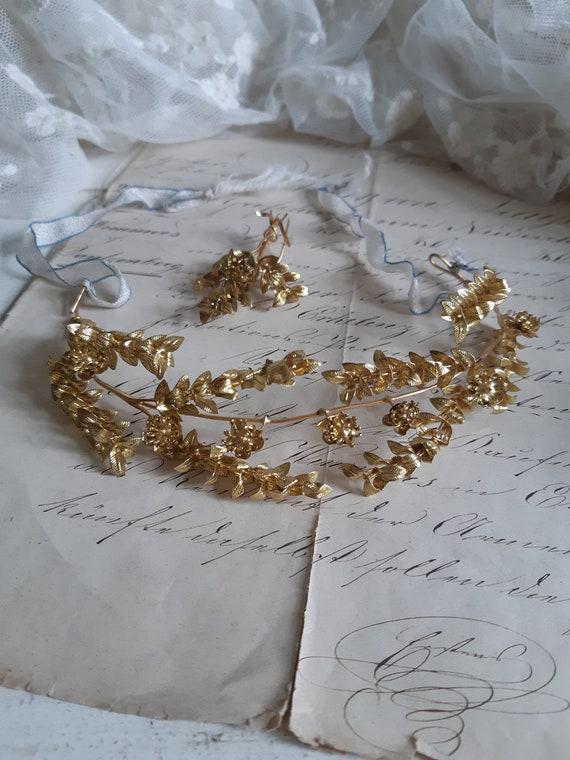 Antique tiara, bridal crown, with brooch, Art Deko