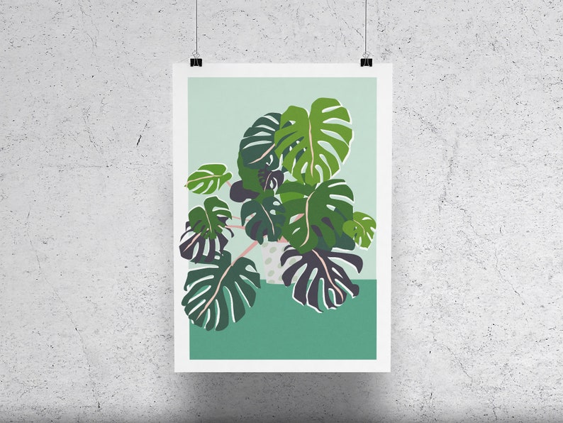 monstera cheese plant plant print colourful house plant image 0