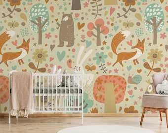 Dieren Behang Kinderkamer : Kids behang etsy