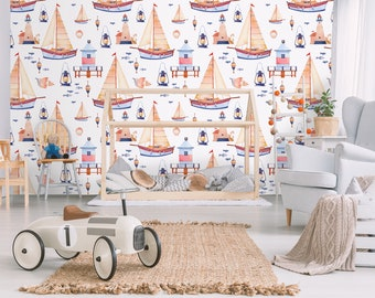 Kids wallpaper with sea motifs, watercolor pattern with sailboat, shells, lighthouse, float, lantern, fish, removable wallpaper