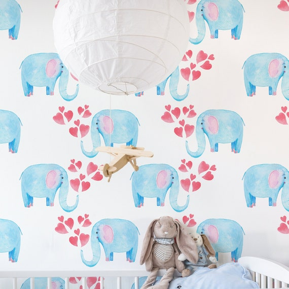 Blue Elephant Removable Wallpaper Cute Nursery Wallpaper Etsy