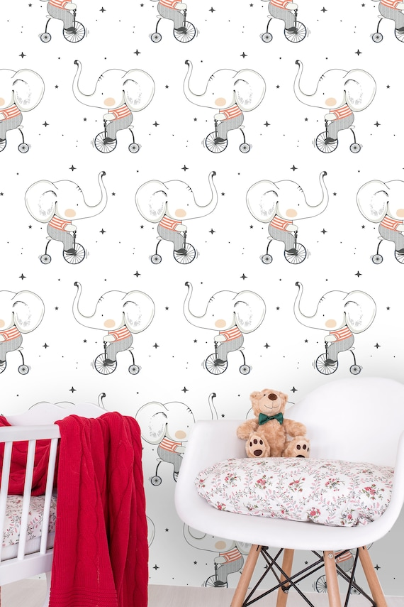 Hand Drawn Wallpaper Pattern Of Cute Baby Elephant On Etsy