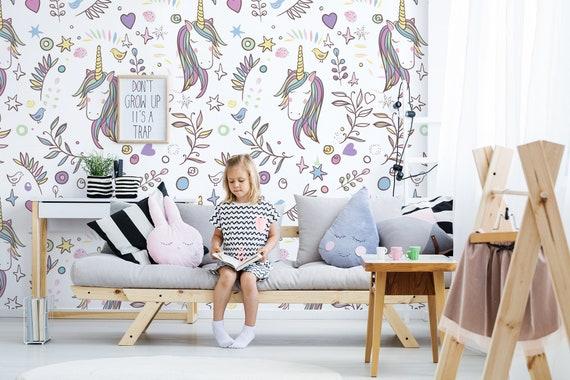 Unicorn Nursery Wallpaper Removable Wallpaper Kids Etsy