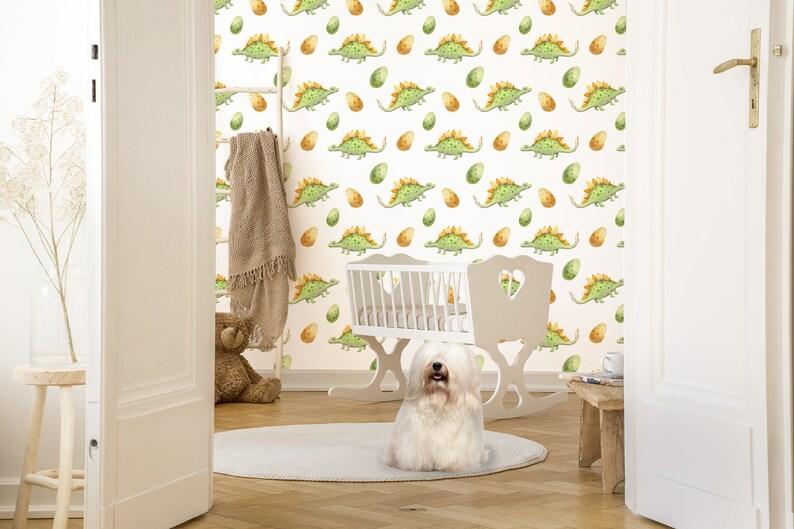Watercolor dinosaurs wallpaper kids room peel and stick mural self adhesive wall mural temporary wallpaper nursery wallpaper