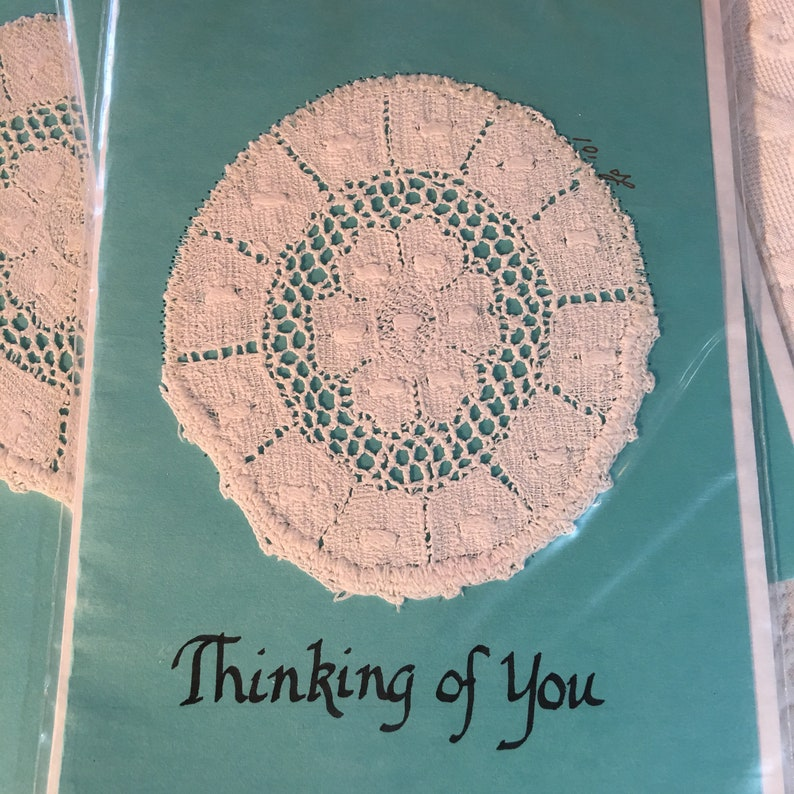 Antique Lace Stitched on Cardstock Blank Cards With Envelop 4 Handmade Antique Lace Greeting Cards /& Envelopes One says Thinking of You.
