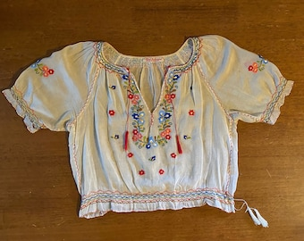 Vintage 1930s Hungarian Hand Embroidered Peasant Blouse Folk