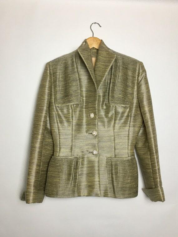 Vintage Lilli Ann 1940s Structured Silk Jacket Ple