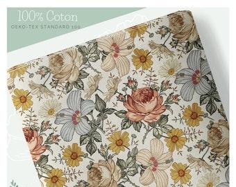 Pre-order deadlines 3 to 4 weeks Vintage Floral Fabric 100% premium cotton Oeko-Tex 153g/m2