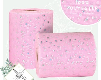 High-quality light pink sequin tulle cut by 10m slice - Soft and supple for dress and tutu skirt - round pattern