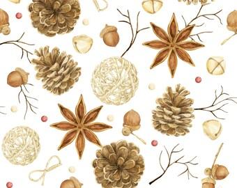 Preorder deadlines 3-4 weeks Fabric Pine cones 100% premium cotton Oeko-Tex 153g Christmas