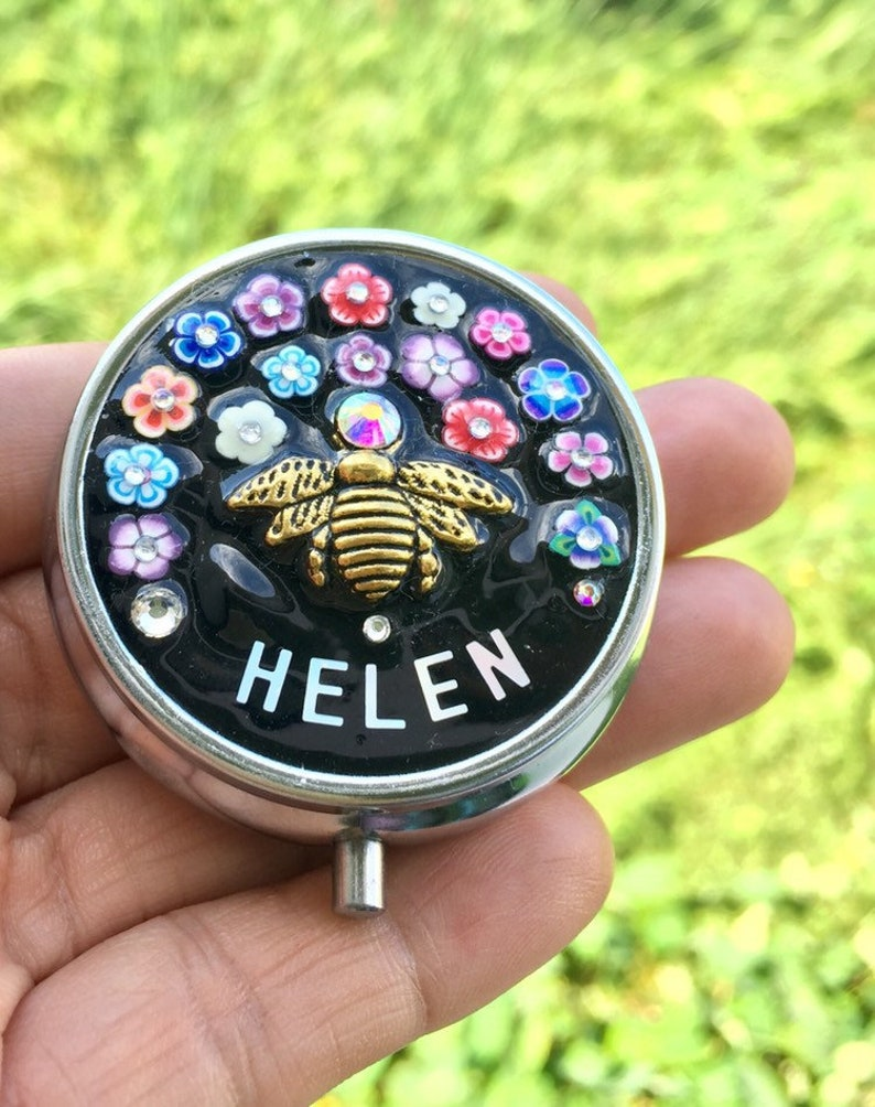 Bee Pill Case Clay Flower Pill Box Pill Box Gift PB5 Beautiful Bee Pill Box Name Customisation Pill Box case handmade design