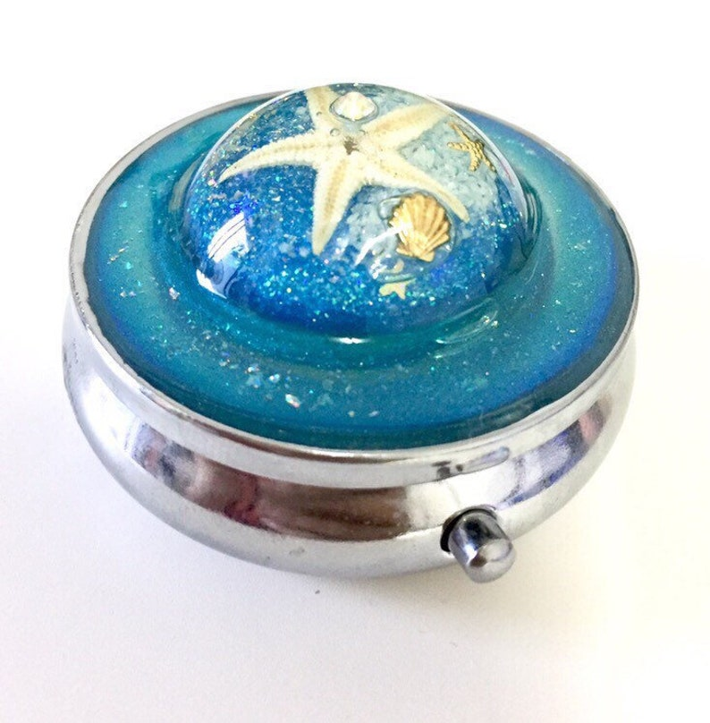 Aquamarine deep blue seaColorful life of the sea Pill boxPill box cade handmadePersonalized Name pill box case