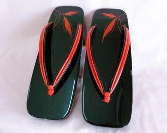 ac5b7d404a011a GETA Shoes  Japanese Geta wooden kimono sandals   Geta lacquer wood Kimono  sandals Size 23 cm