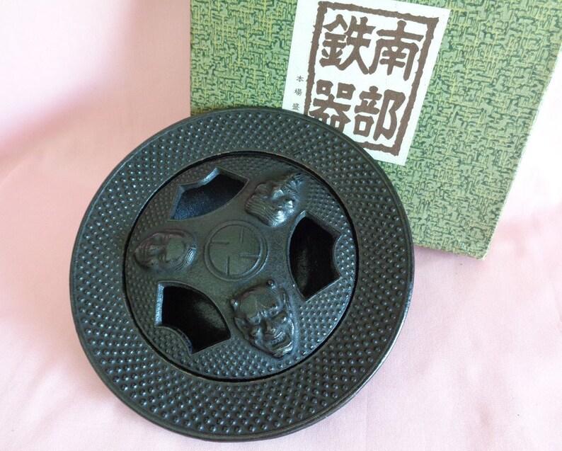 NOH Masks design iron Incense burner Japanese Nambu Tekki iron Incense burner with KABUKI NO.S0819