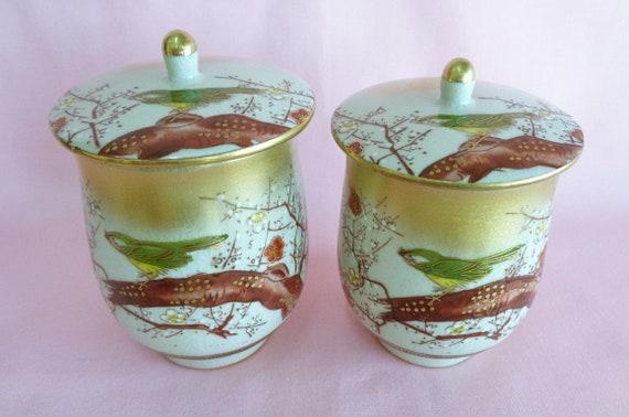 MEOTO Yunomi Kutani yaki Porcelain Tea cups pair with Dogs pattern,Japanese Kutani-yaki tea cups,marked,S1093
