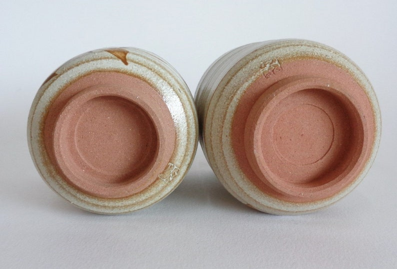 S1928 Meoto Yunomi Kyo-yaki  Tea cups pair Japanese Kyoto Artistic pottery Chawan tea cup set 2Original box,Marked