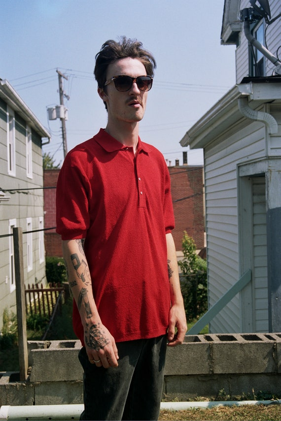 Vintage mens red polo shirt