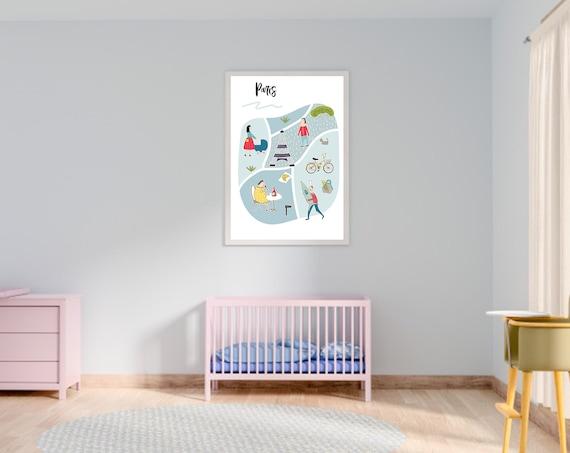 Paris Map Kids Poster Scandinavian Nursery Prints Colorful Etsy
