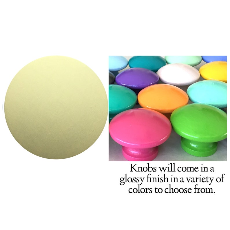 Pale Yellow Colorful Drawer Knobs Decorative Knobs Dresser Knobs Nursery Knobs Kids Knobs Painted Knobs Drawer Pulls Solid Color Knobs