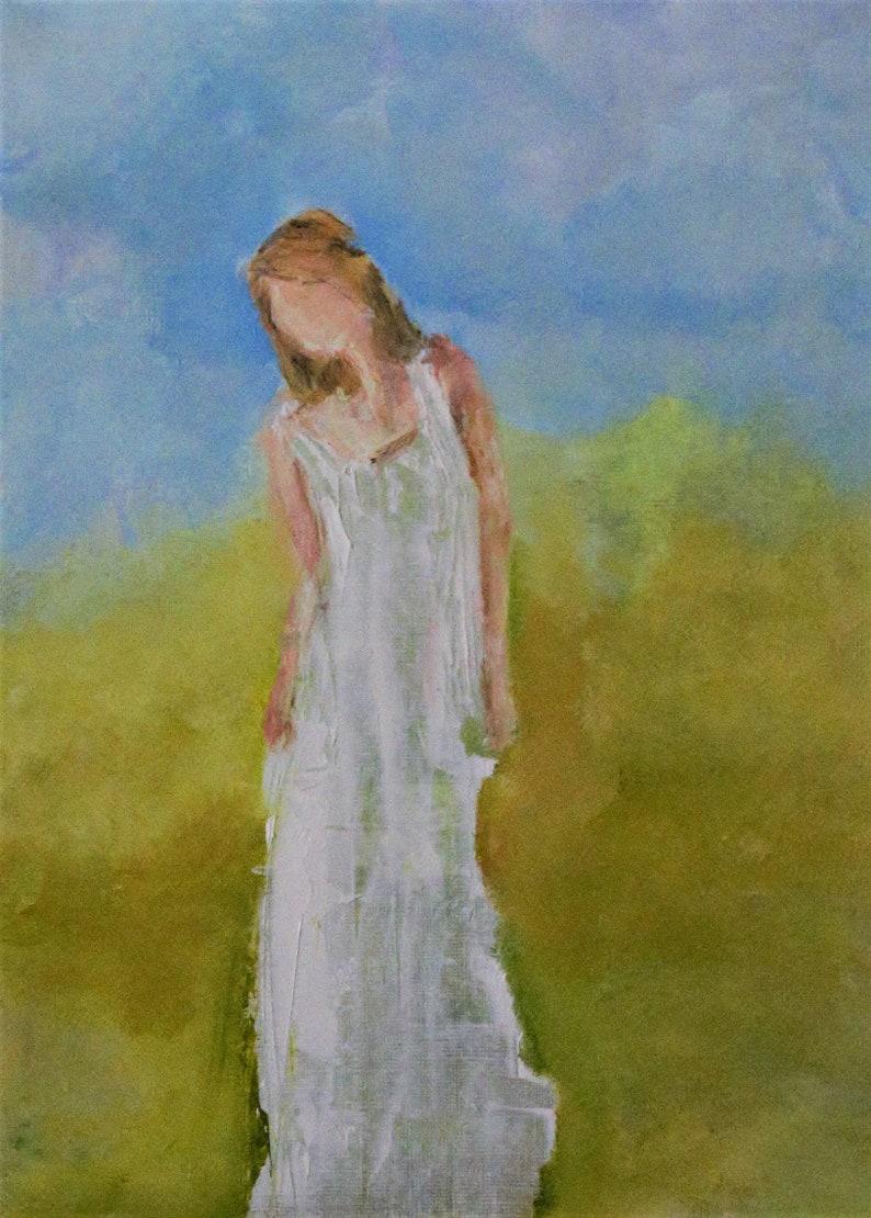 original painting inspirational I wait for Him art