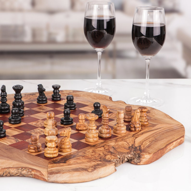 Engraved Chess Set handmade from Olive Wood Personalized image 0