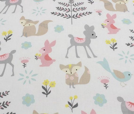Fat Quarter Cotton Fabric Animal Print Fabric Woodland Forest on Gray