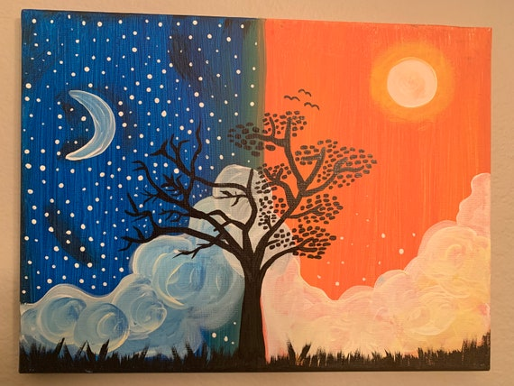 Day & Night Canvas Painting | Etsy