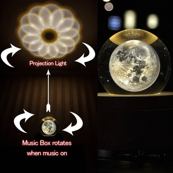 T/_M 3D Crystal Ball Music Box The Moon Luminous Rotating with Projection LED