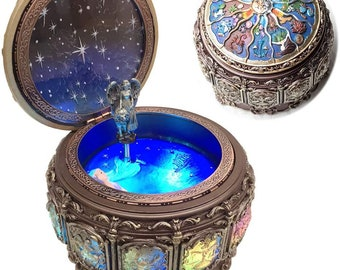Vintage Music Box with Constellations Rotating Goddess LED Lights Twinkling Resin Carved Mechanism with Sankyo 18-Note Wind Up The Zodiac