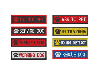 Custom Embroidered Service Dog Name Tag Do Not Pet Dog Paw Sew on Patches Patch